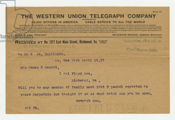 Telegram concerning Robert Williams Daniel and his rescue from the sinking of the 'Titanic', 18th April 1912 (print)