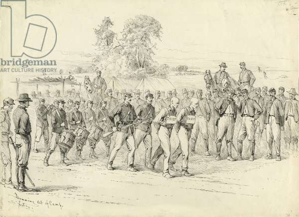 Drumming out of Camp, illustration from 'Thirty Years After: An Artist's Story of the Great War', published in 1890, 1880s (pen & ink on paper)