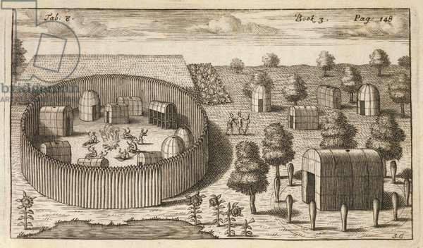 Village Showing Palisades, 1705 (engraving)