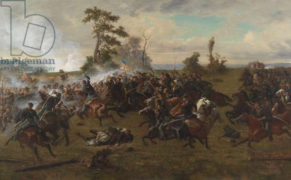 The Battle of Five Forks (oil on canvas)