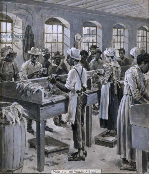Making the Virginia Twist, 1887 (gouache on paper)