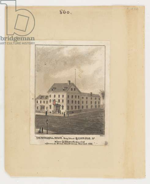 Marshall House, Alexandria, from the Robert Knox Sneden Diary, 1861-65 (coloured litho)
