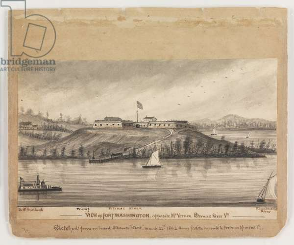View of Fort Washington, opposite Mt. Vernon, Potomac River, Virginia, 1862, from the Robert Knox Sneden Diary, 1861-65 (pen & ink and wash on paper)