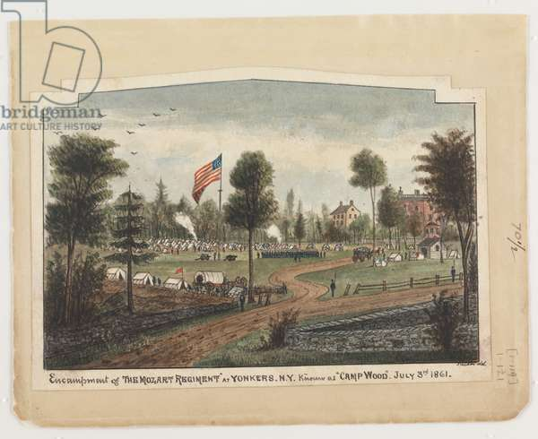 Encampment of the Mozart Regiment at Yonkers, NY, known as 'Camp Wood', July 3rd 1861, from the Robert Knox Sneden Diary, 1861-65 (pen & ink and w/c on paper)
