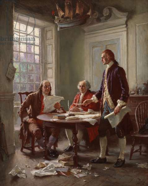 Writing the Declaration of Independence in 1776 (oil on canvas)