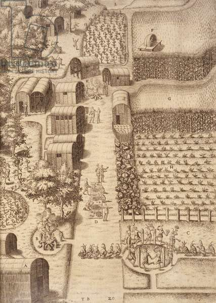 Town of Secotan, plate XX, from 'America, Part I', engraved by Theodore de Bry (1528-98), 1590 (engraving)