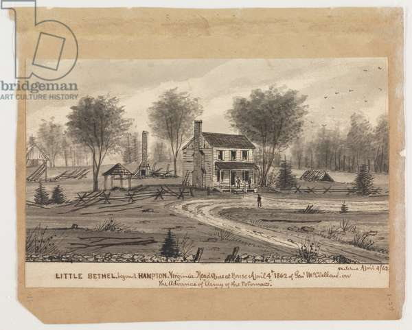 Little Bethel, beyond Hampton, Virginia, 1862, from the Robert Knox Sneden Diary, 1861-65 (pen & in and wash on paper)