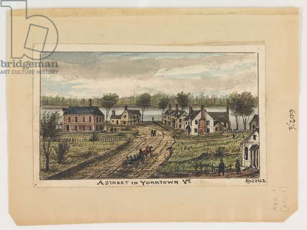 A street in Yorktown, Virginia, April 1862, from the Robert Knox Sneden Diary, 1861-65 (pen & ink and w/c on paper)