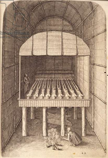 The Tomb of their weroans or chief lords, plate XXII, from 'America, Part I', engraved by Theodore de Bry (1528-98), 1590 (engraving)