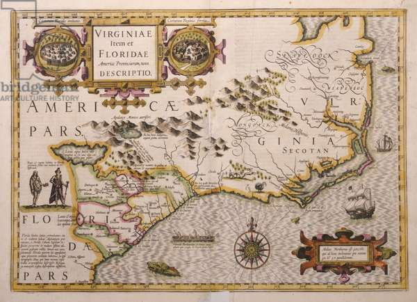 Map of Virginia and Florida, 1625 (engraving)