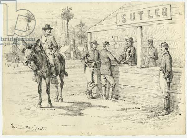 The Sutler's Tent, illustration from 'Thirty Years After: An Artist's Story of the Great War', published in 1890, 1880s (pen & ink on paper)
