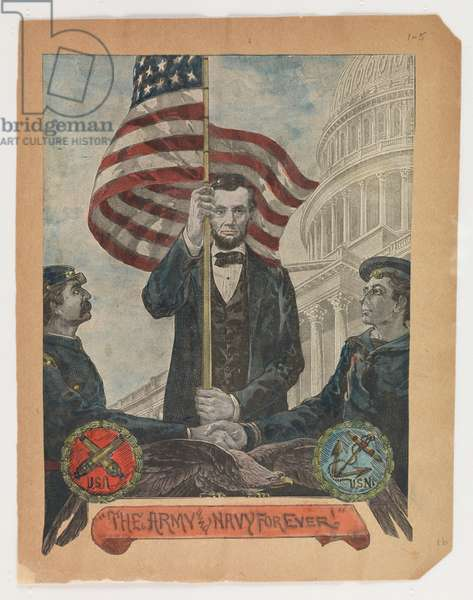 'The Army and Navy Forever!', portrait of Abraham Lincoln, from the Robert Knox Sneden Diary, 1861-65 (w/c on paper)