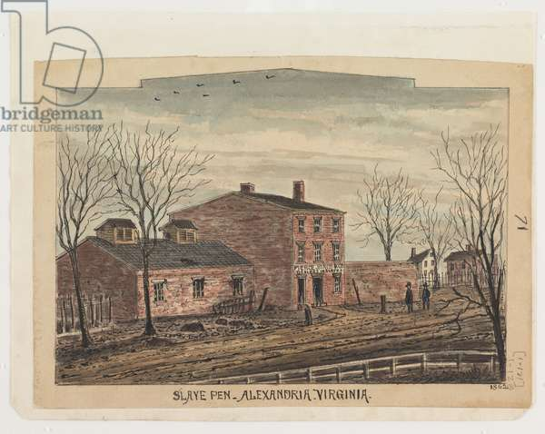 Slave pen, Alexandria, Virginia, 1862, from the Robert Knox Sneden Diary, 1861-65 (pen & ink and w/c on paper)