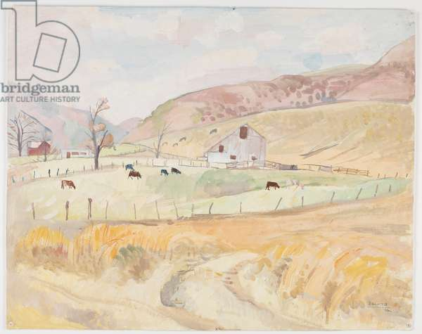 Barn and Cattle (tempera on paper)