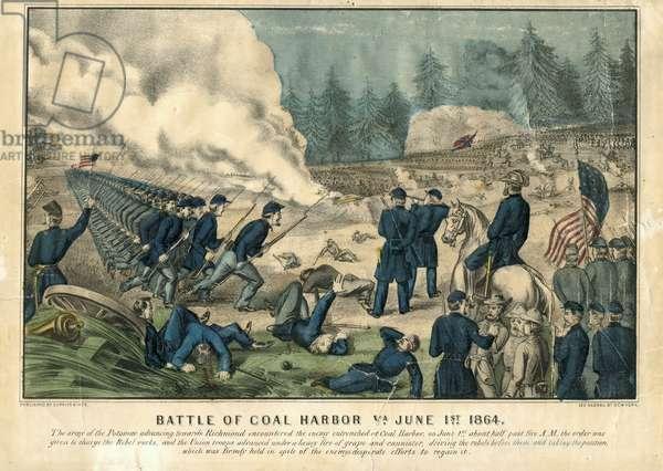 The Battle of Cold Harbor, 1st June 1864 (colour litho)