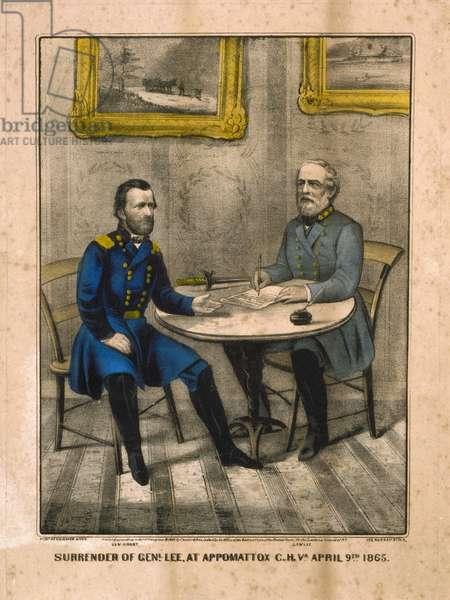 Surrender of General Lee, at Appomattox, 9th April 1865 (colour litho)