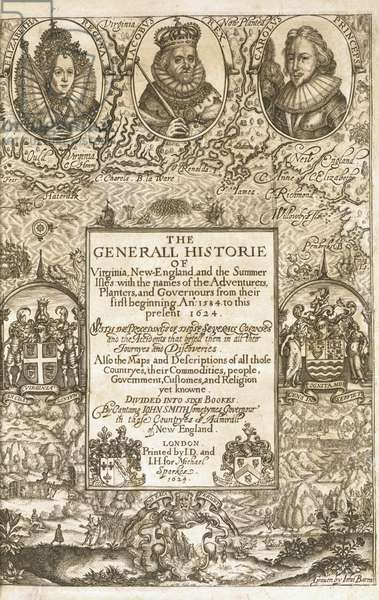 Title page from 'John Smith, The Generall Historie of Virginia, New England and the Summer Isles', 1624 (engraving)