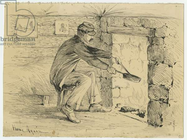 Home Again, illustration from 'Thirty Years After: An Artist's Story of the Great War', published in 1890, 1880s (pen & ink on paper)