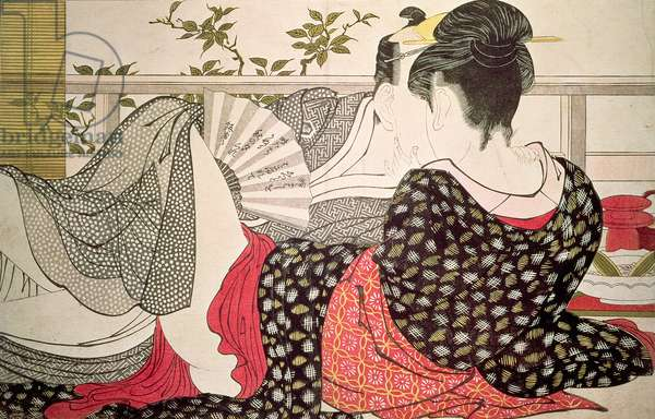 Lovers from the 'Poem of the Pillow', ('Uta makura') (colour woodblock print)