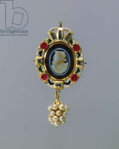 The Barbor Jewel, c.1615-25 (enamelled gold, set with an onyx cameo, rubies & diamonds, and hung with pearls
