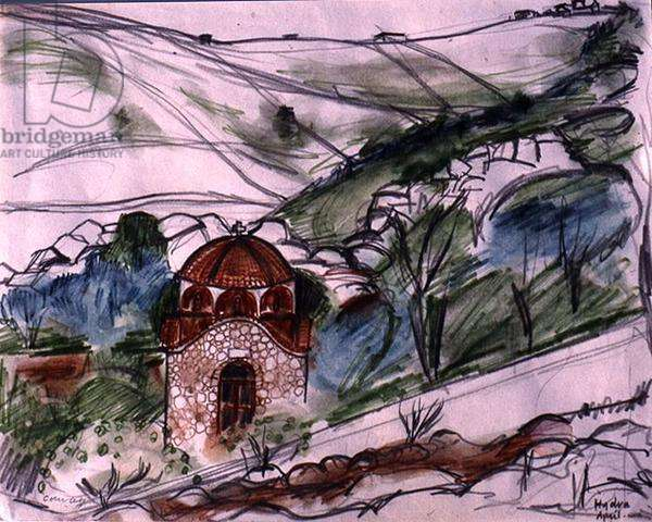 Chapel on Hydra, 1975 (pencil, w/c & pen on paper)