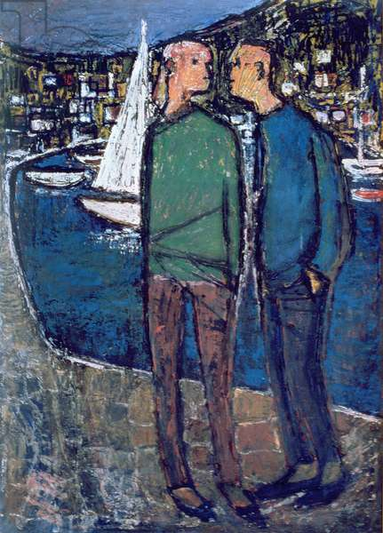 On the Quay at Cassis, Cote-d'Azur, 1960 (oil on board)