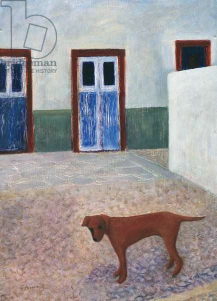 Greek Courtyard with Dog, 1995 (oil on canvas)