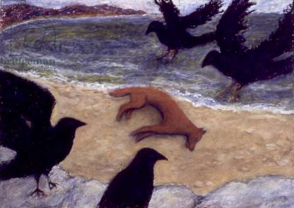 Celtic Crows and Fox, 1999 (oil on canvas)