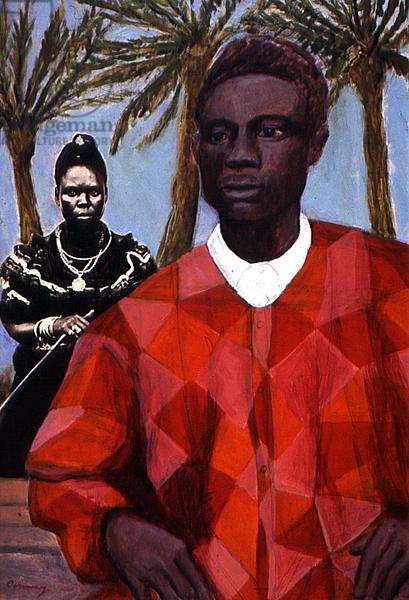 Nigerian Couple, 1997 (acrylic and w/c and collage on paper)