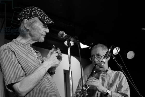 Michael Horovitz, 100 Club, London, Poetry Day, October 2010 (b/w photo)