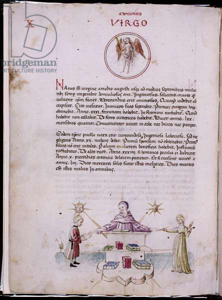 Astrology: representation of the sign of the Virgin. Page of the manuscript Physiognomia (Liber physiognomiae) (ms. 697) by Michael Scotus (or Scot) (1170-1236). Biblioteca estense, Modene, Italy.