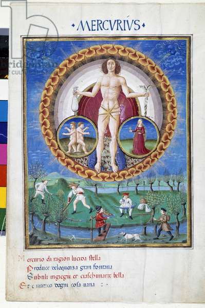 "Mercury with signs of the zodiac of the Virgin and the Gemels. Downstairs, peasants working in the fields. Miniature made by Cristoforo de Predis (v. 1440-v. 1486) - in """" De Sphaera"""""" d'Este. Around 1470. Biblioteca Estense, Modene."