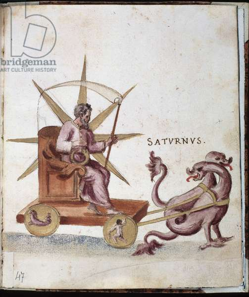 Astrology: representation of Saturn on a tank. Manuscript page of the Campori background. Biblioteca estense, Modene, Italy.