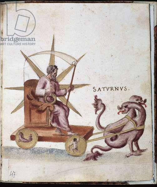 Astrology: representation of Saturn on a tank. Manuscript page of the Campori background. Biblioteca estense, Modene, Italy.