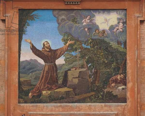 Mosaic on the facade of San Francesco, Reggio Emilia, Emilia-Romagna, Italy (photo)