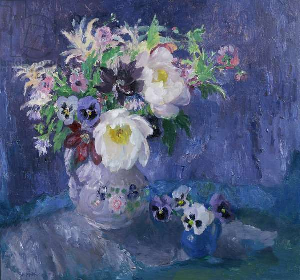Still Life of Anemones, White Peonies and Pansies in a Vase, 1968 (oil on canvas)