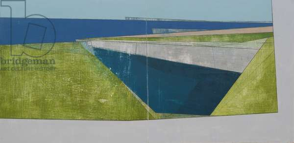 Cliff Border 2 diptych, 2009 (acrylic on board)