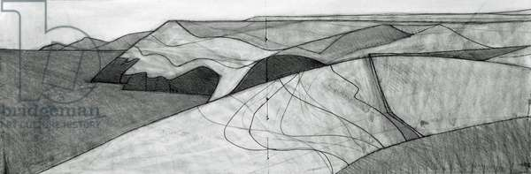 Fields and Coast 1 2014 14 x 41 cm pencil on paper