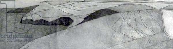 Pentargon drawing 8 2008 28 x 106 cms black crayon on paper
