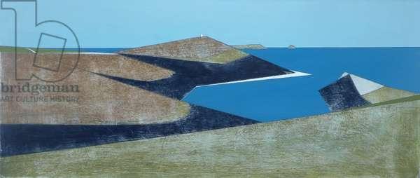 Two Headlands 1 2014 26 x 61 cm acrylic on board