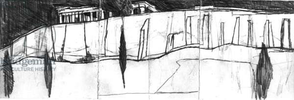 Acropolis Wall, Athens, 2009 (pencil on paper)