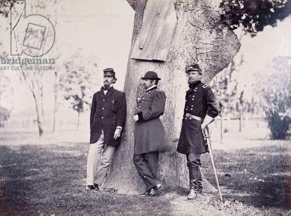 Generals Hancock (1824-86) Smith and Newton, 1862 (b/w photo)