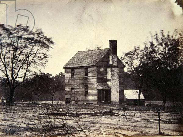 General McClellan's (1826-85) Headquarters the day of the Battle of Lee's Mills, 1831 (b/w photo)