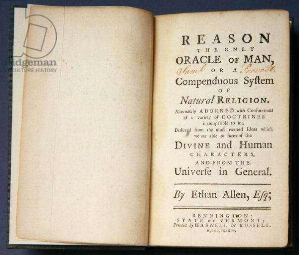 Title Page of 'Reason, the only Oracle of Man', by Ethan Allen (1738-89) 1784 (litho)