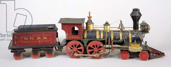 Railroad engine & tender model, 1877 (wood & metal)