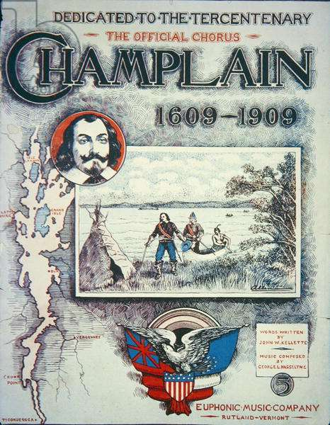 Frontispiece for 'Champlain, 1609-1909', 1909 (colour litho)