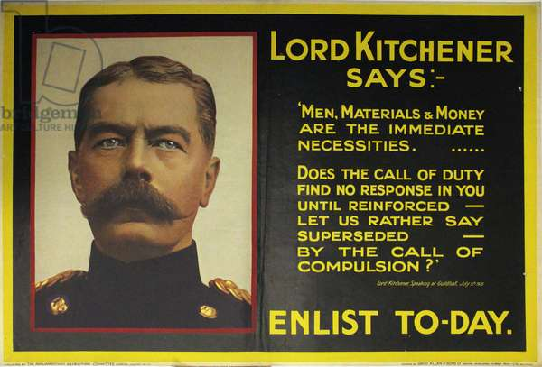 Lord Kitchener says Enlist Today, 1915 (colour litho)