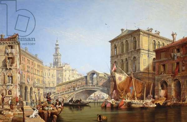 The Rialto, Venice, 1869 (oil on board)