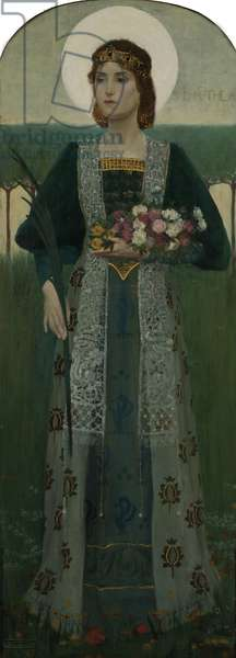 St. Dorothea, detail from a firescreen, 1895 (oil on wood) (see also 396561)