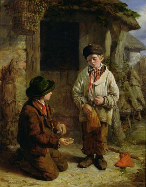 Boys Playing with Marbles, 1855 (oil on board)